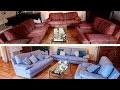 Peindre son canapé en tissu - Transformation du salon