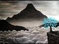Paysage de montagne dans la brume en noir et blanc - Peinture Acrylique