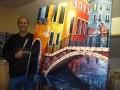 Venise, un soir romantique - Olivier Lemennicier Artiste peintre sur toile, Peinture Acrylique