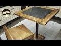 Table haute chêne acier carrelage Diy