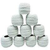 10 Pcs blanc coton mercerisé fil à crocheter Fils à tricoter Frivolité Skeins
