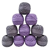 10 Pcs Mettre Broderie Tricot Écheveau Fil De Coton De Fil De Crochet Gris Violet