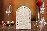 10x 3D découpé au laser Écran pliable style romantique de mariage cartes d'invitation en couleur ivoire, sans enveloppe assortie, Blank ...