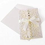 10 x invitation mariage découpe dentenlle fleur avec enveloppe