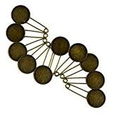 10pcs 20mm Vintage Épingles à Nourrice Bronze Base Cabochon Broche Echarpe Cape Hijab Diy Broche de Sécurité