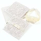 10x invitation de mariage dentelle blanc ruban noeud crème avec enveloppe #754