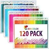 120 crayons de couleur Zenacolor avec étui - 120 couleurs uniques (aucune en double) - Les meilleurs crayons pour enfants, ...