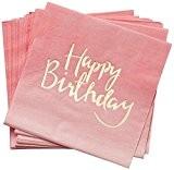 20 Serviettes Happy Birthday Rose et Or