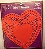 24Découpe Rouge Napperons en papier en forme de cœur
