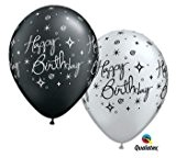 25 Ballon Happy Birthday qualatex noir et argent Taille 27 cm (11)