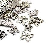 30 Grams Argent Antique Tibétain Mélange Aléatoire Breloques Papillon - (HA06700) - Charming Beads