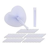 60pcs Eventail Mariage en Papier Blanc avec Pliable Plastique pour Fête Peinture DIY Cadeau Décoration (60 pcs, Forme de coeur)