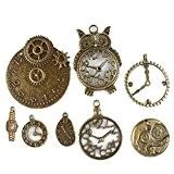 8x Breloques Assorti Horloge Vintage Bronze Alliage Bijoux Fabrication-Bijoux Style Vintage