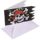 Amscan - 551943 - 6 Cartes d'Invitation et Enveloppes Pirate - Rouge/Noir