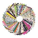 AONER - 100 pcs Tissu Patchwork 10cm*10cm Carré Patchwork Coton Mixtes Coupon Tissu pour Patchwork, Quilting, Loisir Créatifs