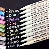 apogo Marqueur Métallique Pens, Lot de 10garnie couleurs métalliques Marqueurs Stylet pour carte Fabrication DIY Album photo livre d'or utilisation ...