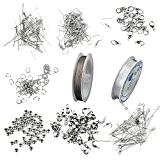 Assortiment Accessoires pour Fabrication de Bijoux Débutant - Couleur d'Argent
