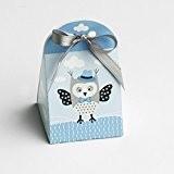 Ballotins à dragées - boites à dragées forme Iris thème chouette hibou bleu x10 mariage baptême communion anniversaire