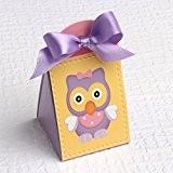 Ballotins à dragées - boites à dragées forme Iris thème petit hibou ou chouette lilas x10 mariage baptême communion anniversaire