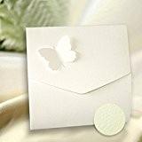 Blanc Gesso Papillon faire-part Mariage Invitaton carte enveloppes assorties & Inserts pour Imprimer Inc X 10