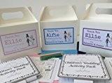 Boîte d'activités de mariage personnalisable pour enfants avec activités, crayons et papier tissu