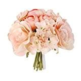 Bouquet de Mariage Rose Hydrangea Bouquet de Fleurs Artificielles pour Mariée Demoiselle d'Honneur - Champagne