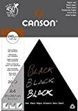 Canson Arts graphiques Black Papier à dessin A4 21 x 29,7 cm 20 feuilles Noir profond