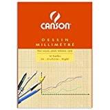 Canson Dessin Millimétré 200067106 Papier à dessin A4 21 x 29,7 cm Bistre