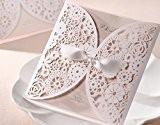ColorMax élégant découpé au laser Ruban Satin Invitations de mariage classique creux Design (Lot de 20)