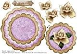 Crème Rose lilas All My Love-à bord festonné Carte d'équilibre-Blacklaws Kylie Jayne