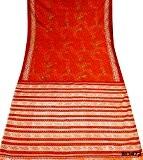 Cru Orange Saree Bollywood Les femmes indiennes Saree DIY Tissu motif cachemire Conception Craft Decor 5YD