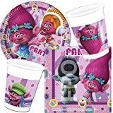 Deamworks «Trolls» Lot de 37pièces de vaisselle jetable Avec assiettes en carton + serviettes + gobelets + déco + ballons ...