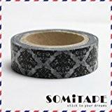 Diamant noir et blanc Motif Vintage Washi Tape, Artisanat ruban décoratif