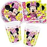 Disney Vaisselle jetable * Minnie Mouse * Total 37pièces avec 8assiettes en carton + 20serviettes + 8gobelets + décoration Vaisselle ...