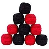 Ensemble de 10 Pcs Rouge Noir Crochet fil de coton broderie de fil à tricoter écheveau