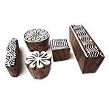 Fait Main Rond et Géométrique Designs Bloc Impression Bois Timbres (Set de 5)