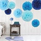Feelshion 9pcs Bleu Papier de soie pompons boules de fleurs Fleur en papier Pom Décoration à suspendre fête d'anniversaire de ...