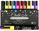 Feutres Chalkola effaçables - Lot de 10 marqueurs de couleur fluo. Utilisables sur tableau blanc, tableau noir, fenêtre, ardoise - ...