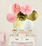Furuix 12pcs rose crème or partie décoration kit papier de soie pom pom nid d'abeille et lanterne de papier pour ...