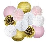 Furuix 12pcs rose or partie décoration kit papier de soie pom pom nid d'abeille et lanterne de papier pour les ...