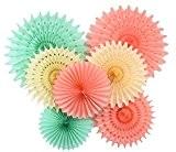 furuix Papier de soie Fan de papier vert menthe Pêche Crème Décorations à suspendre pour bébé douche Decor d'anniversaire de ...