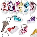German Trendseller® - 12 x porte-clés basket?chaussures de sport ?des couleurs scintellimentes?mélange de couleurs?l'anniversaire d'enfant?petit cadeau?80's style?12 psc