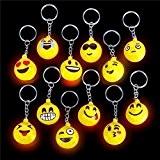 German Trendseller® - 6 x porte-clés emojis?LED ?lumière clignotante?emoticons? icons? drôle face ?smiley ?l'anniversaire d'enfant?petit cadeau?80's style?6 psc