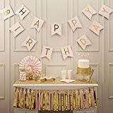 Ginger Ray pastel rose et or déjoué Joyeux Anniversaire Bunting bannière - Pastel Perfection