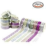 Goodlucky365 14 Rouleaux Ruban Adhésif Décoratif Dentelle Autocollant Galon Masking Tape Multicolore Washi Pour Mariage
