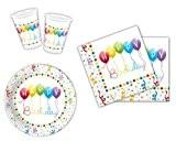 Happy birthday streamers de table de fête comprenant gobelets, assiettes et serviettes