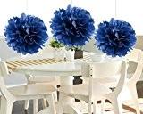 heartfeel 8Pompons en papier de soie Bleu marine Boule de fleurs à suspendre Pom mariage décoration en plein air décorations ...