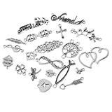 HOUSWEETY 20 Pcs Mixte Pendentifs / Breloques Metal Pour Bracelet Collier 10.5x5.9cm