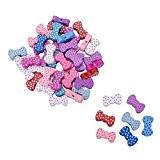 HOUSWEETY 50 Pcs Mixte Accessoire Perles en Bois Forme Noeud Papillon avec Trou d'Enfilage