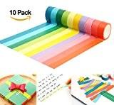 ilauek 10pcs Bricolage Décoratif Adhésif Papier Washi Tape Artisanat Bande Papeterie Cadeau Scolaire (1.5CM*5M)
